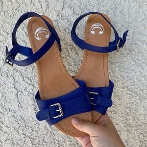 Blue and Tan Charming Charlie Sandals